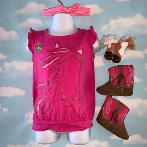 John Deere Pink Horse Graphic Tee 3T